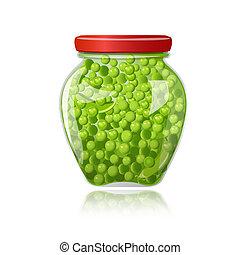 vidrio, verde, tarro, guisantes, preservado
