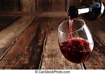 vidrio, vertido, rojo, botella, vino