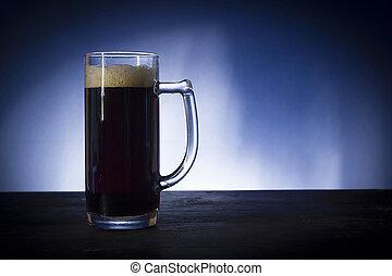 vidrio, vidrio, con, cerveza