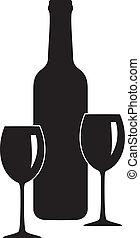 vidrio vino, botella