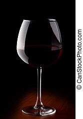 vidrio vino, con, vino rojo