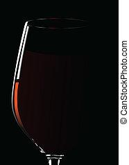 vidrio, vino., vector, illustra, rojo