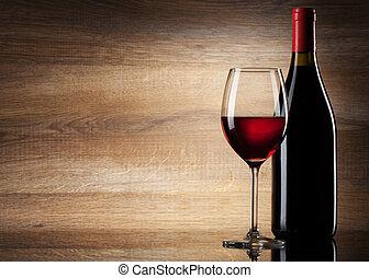 vidrio vino, y, botella, en, un, de madera, plano de fondo