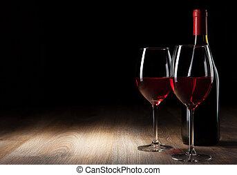vidrio vino, y, botella, en, un, tabla de madera