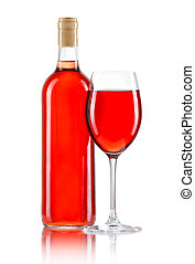 vidrio, y, botella, de, vino rosado, aislado, blanco