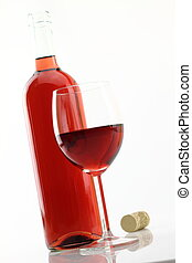 vidrio, y, botella, de, vino rosado