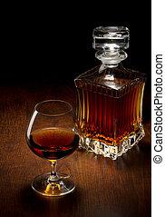 vidrio, y, botella, en, un, tabla de madera