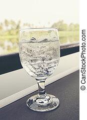 vidro água, bebendo, gelo