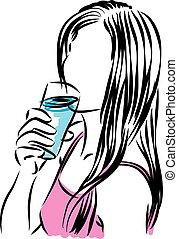 vidro água, bebendo, mulher, illus