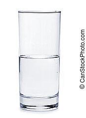 vidro água, cheio, metade