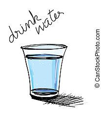 vidro água, desenhado, mão