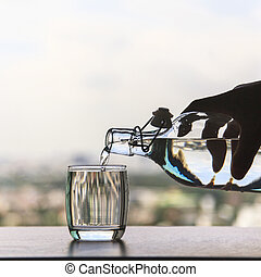 vidro água, despeje