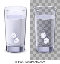 vidro água, e, pílulas