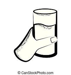vidro água, esboço, segurando mão