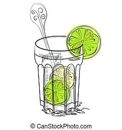 vidro água, lima
