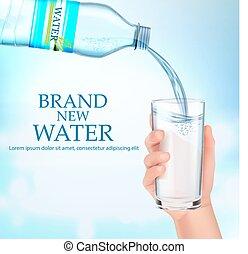vidro água, segura, mão