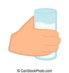 vidro água, segurando mão