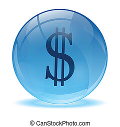 vidro, 3d, dolar, ícone, esfera