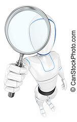 vidro, 3d, magnificar, robô, humanoid