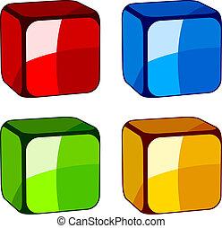 vidro, abstratos, vetorial, cubos