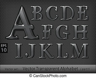 vidro, alfabeto