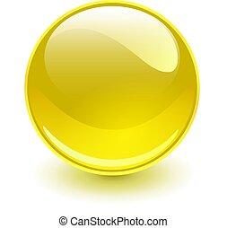vidro, amarela, esfera