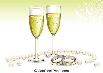vidro, anel, obrigação, champanhe
