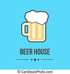 vidro azul, cerveja, isolado, fundo