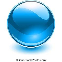 vidro, azul, esfera