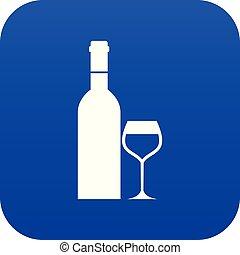 vidro azul, garrafa, digital, vinho, ícone