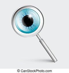 vidro azul, vetorial, olho, magnificar