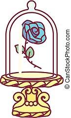 vidro azul, vetorial, rosa, frasco