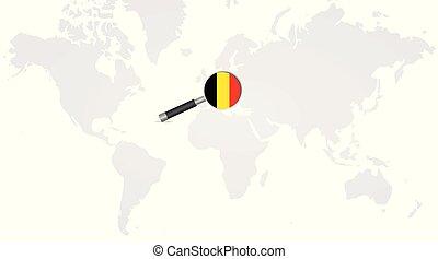 vidro, bandeira, magnificar, belga