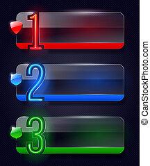 vidro, bandeiras, néon, números