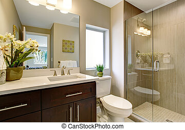 vidro, banheiro, shower., agradável