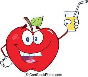 vidro, bebida, maçã, segurando