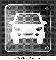 vidro, botão, car, ícone