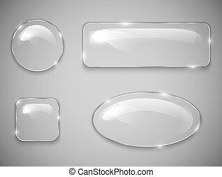 vidro, botões