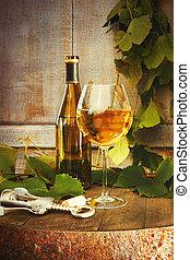 vidro, branca, barril, garrafa, vinho