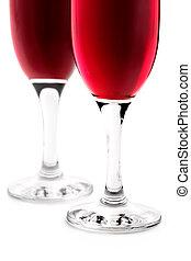 vidro, branco vermelho, fundo, vinho