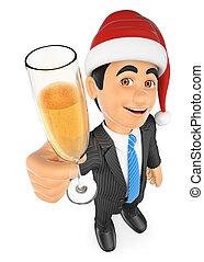 vidro, brindar, champanhe, 3d, homem negócios