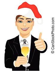 vidro, brindar, champanhe, jovem, homem negócios