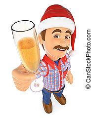 vidro, brindar, champanhe, trabalhador, 3d