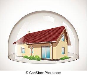 vidro, cúpula, -, casa, proteção, conceito