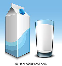 vidro, caixa papelão, leite