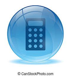 vidro, calculadora, 3d, ícone, esfera