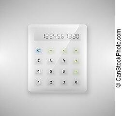 vidro, calculadora
