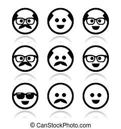 vidro, calvo, bigode, homem