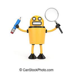 vidro, caneta, robô, ampliar