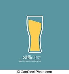 vidro, cerveja, amarela, líquido
